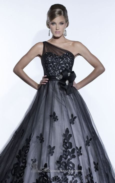 Elegant one shoulder black wedding dress by Christina Wu 15512 by Christina Wu