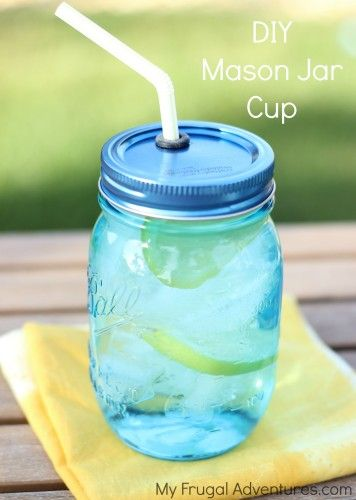 Super fast and easy DIY Mason Jar Cups.  Just about $.50 to make these!  So cute for parties or to prep your drinks in advance for grab n go!
