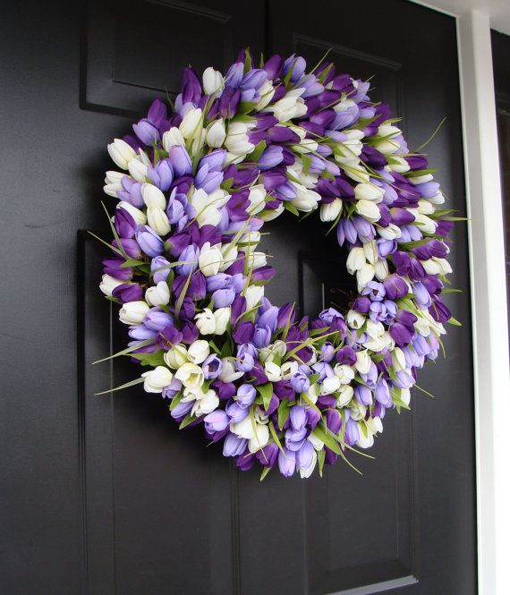 Purple lavendar and white tulip Easter Wreath !Easter Decoration Spring Wreath by