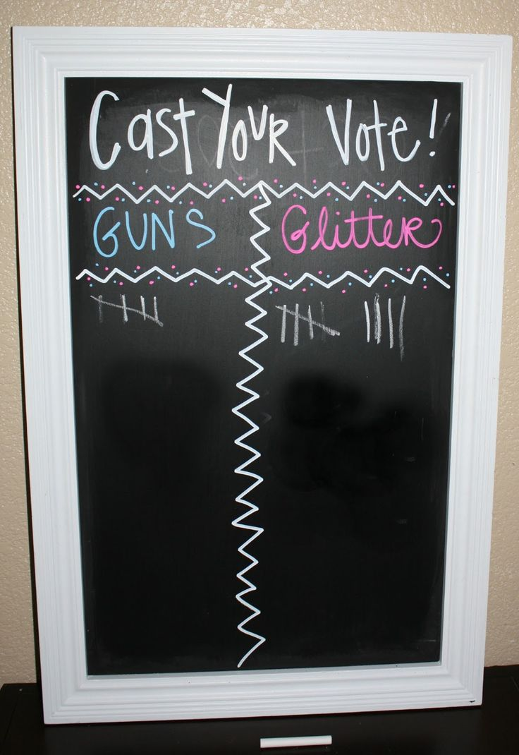 "dont know if i would use ""guns"" or ""glitter"" but yet another great use out of a chalkboard! Gender Reveal Party"
