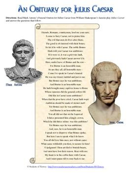 an analysis of brutus and antonys speeches in shakespeares julius caesar Brutus makes a speech explaining that although he valued caesar as a friend,   the crowd clamors for brutus, and brutus tells them to listen to mark antony.