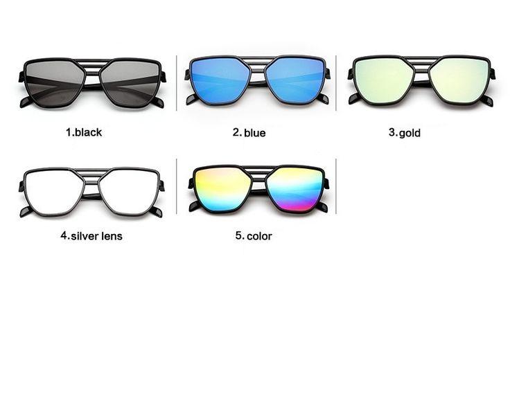 Солнцезащитные зеркальные черные очки-бабочки с тройной переносицей (в наличии серебряное зеркало) - 17871