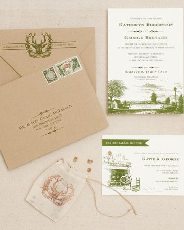 Woodland Invitation    Woodsy charm and pastoral imagery combine in this invitation suite perfect for a farm affair.