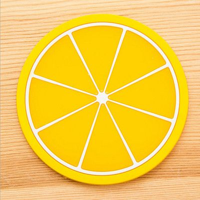 2016 Brand New HOT Household Colorful Jelly Color Fruit Shape Coasters Creative Skid Insulation Cute Silica Gel Cup Mat XH05101
