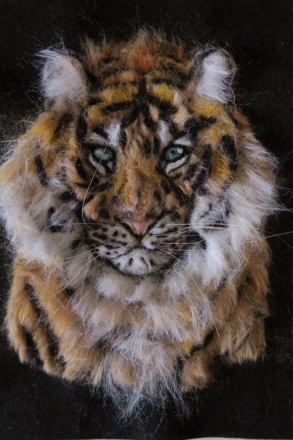 Unikat Wunderschoner Tiger 2d Filzbild Gefilzt Needle Felted Bild Filz Wollbild Wildtiere Wilde Tiere Tiere Filz Bilder