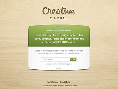 Creative Market. A new marketplace for handcrafted, mousemade goods. https://creativemarket.com/