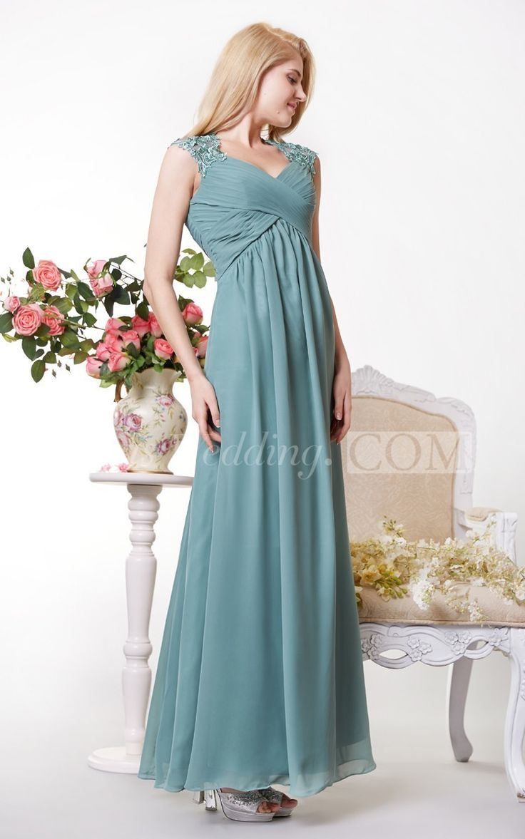 Graceful Cap-sleeved Empire Chiffon A line Long Bridesmaid Dress with Lace Appliques. #long #country #green  #DorisWedding.com