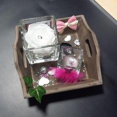 Plateau bois naturel bougie parfumée diamant paillettes rose naturelle stabilisée