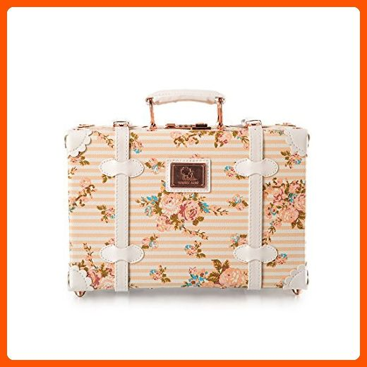 13 Inch Pu Leather Small Suitcase Floral Decorative Box with Straps for Women - Dont forget to travel (*Amazon Partner-Link)