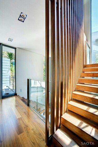 Architecture, Interesting Head Road 1816 House Project By SAOTA Featuring  Interior Design With Wooden Staircase With Wooden Parquet Floor And Glass  Railing: ...