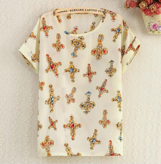 Summer fashion Women Chiffon blouse Chiffon Blouses Shirts Lady Plus Loose Short Sleeve Top Blusas Hot Sale
