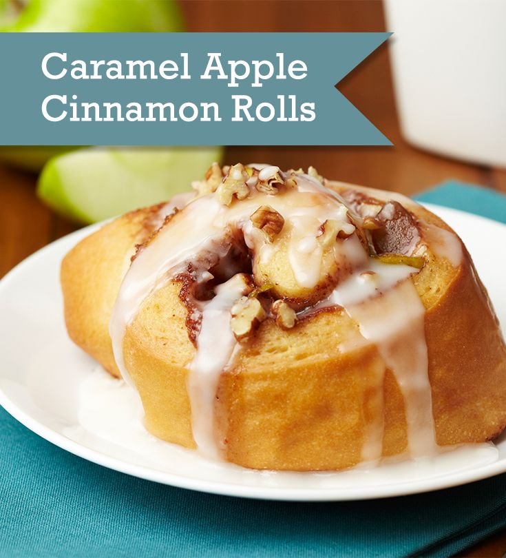 Combine a quick homemade cinnamon roll dough with gooey caramel apple ...
