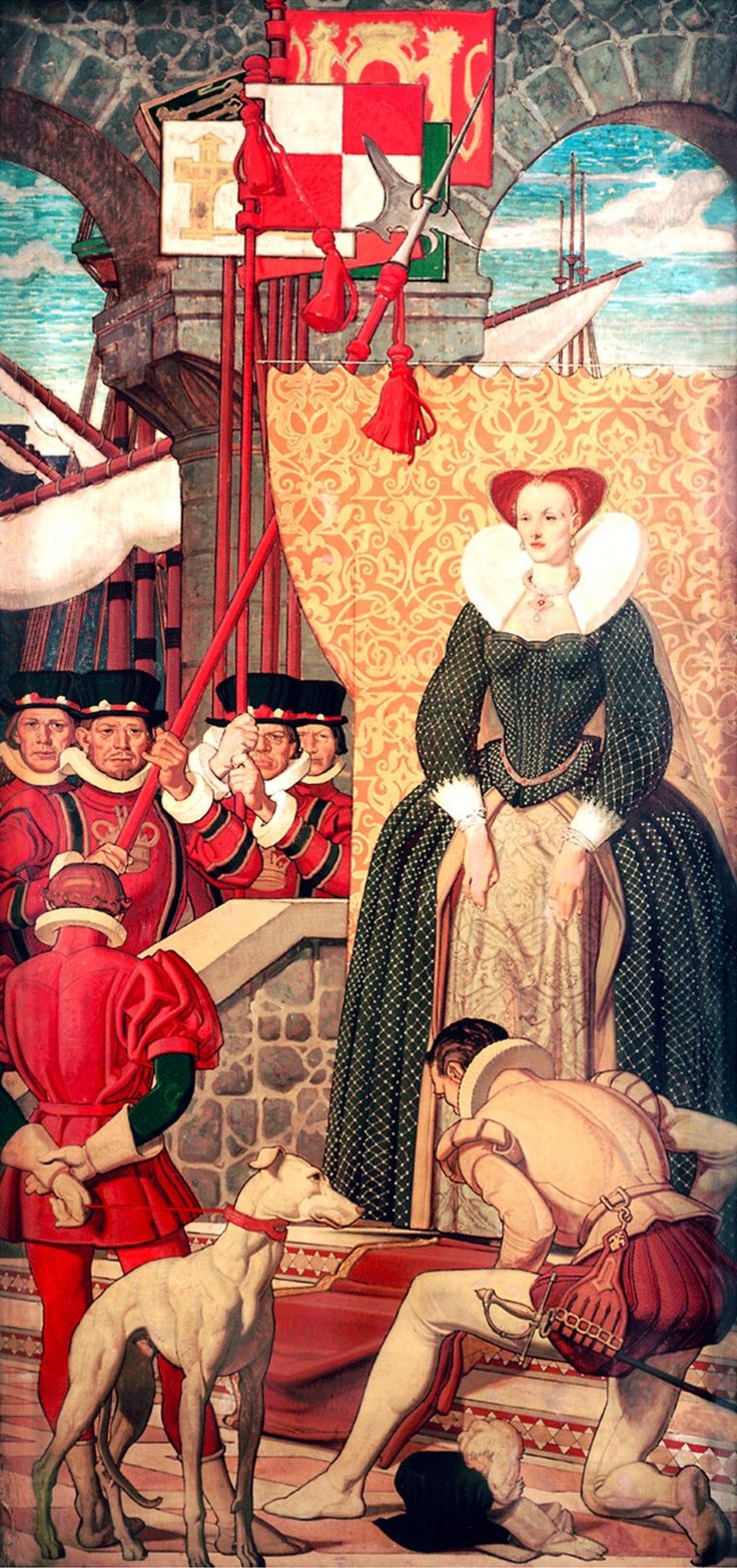 A mural in the restaurant of New York's Warwick Hotel, showing Queen Elizabeth I of England and her subjectSir Walter Raleigh. Mural by Dean Cornwell, 1938.