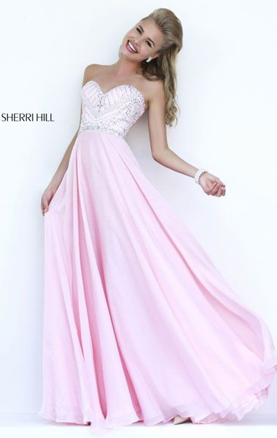 2015 Sweetheart-Neck Pink Sherri Hill 1944 Chiffon Beaded Bodice Long Prom Dresses
