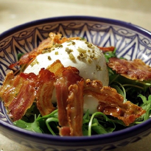 Burrata salad with crispy pork belly and pickled hop shoots. #CDNcheese #SimplePleasures