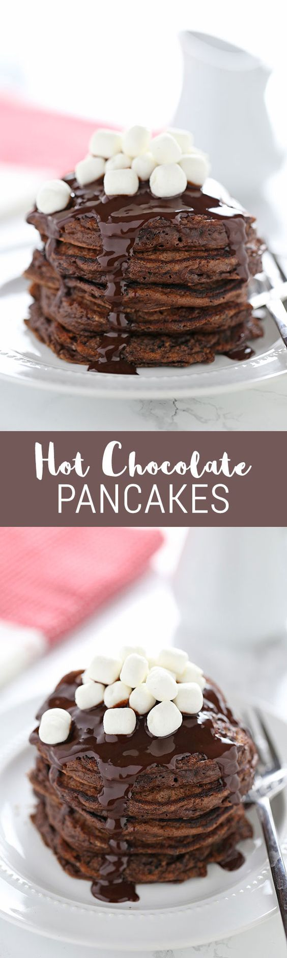 Hot Chocolate Pancakes Recipe via Handle the Heat - Make these for Christmas morning!! So delicious, and they take less than 30 minutes! We loved this Hot chocolate pancake recipe.