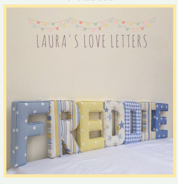 Fabric Letters Personalised Initial Name Baby Room Nursery New Gift Shower Padded Wall Art Christening Baptism Accessories