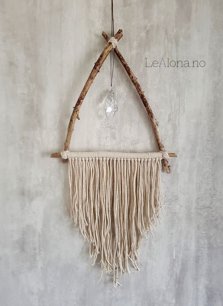 Boho, bohemian interior. Beautiful makrame with mineral.