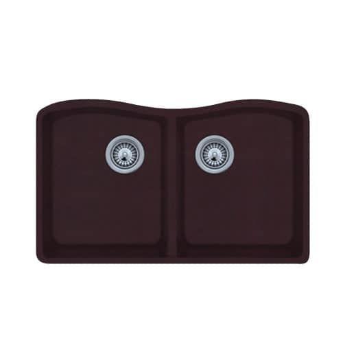 Swanstone Qued-3322 32 Double Basin Undermount Granite Kitchen Sink (Espresso (Brown))