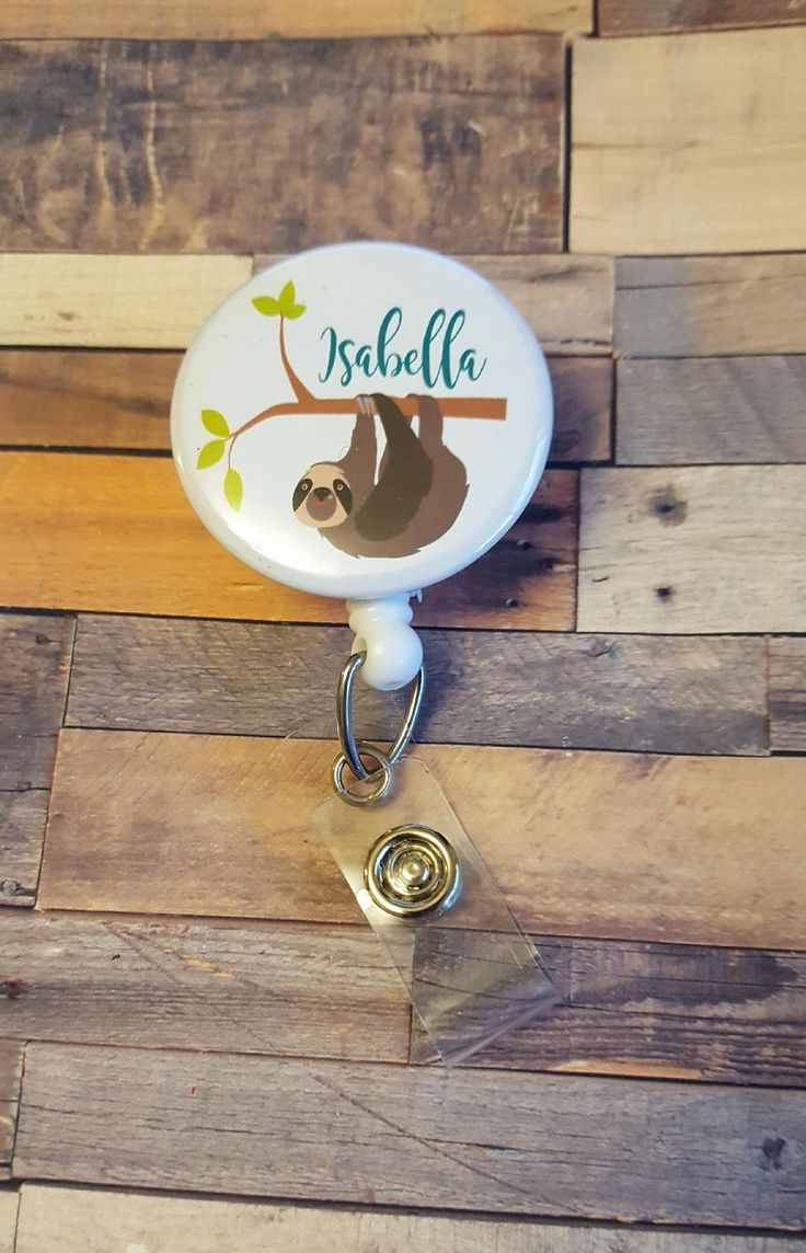 Excited to share the latest addition to my #etsy shop: Retractable Badge Holder, badge reel, Sloth Reel, Custom Badge Reel, Personalized Badge Reel, Personalized, Nurse, RN, Sloth Badge Reel http://etsy.me/2ncPcjG #accessories #personalizedbadge #retractablebadge