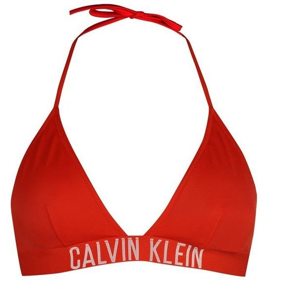 Calvin Klein Triangle Bikini Top (880 MXN) ❤ liked on Polyvore featuring swimwear, bikinis, bikini tops, swimsuit, swim, red, bikini swimsuit, triangle bikinis, red triangle bikini and bikini bathing suits