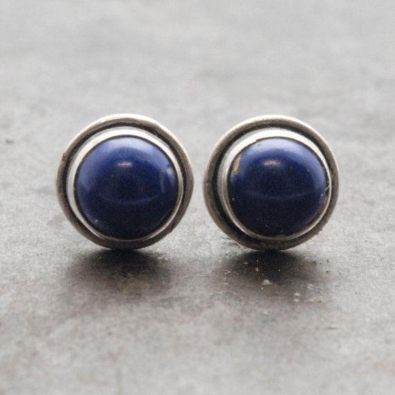 Lapis Lazuli Earrings Man/Woman Tiny Lapis Lazuli by SunSanJewelry