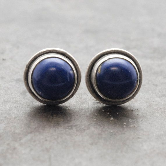 Lapis Lazuli Earrings Man/Woman Tiny Lapis Lazuli by SunSanJewelry