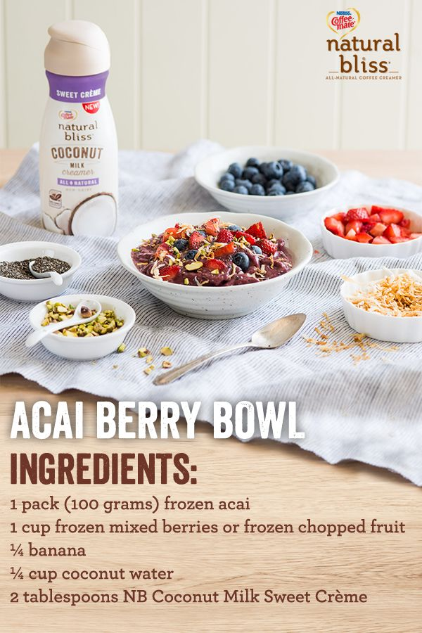Enjoy the taste of an antioxidant rich breakfast with this Acai Berry Bowl. Using natural bliss® Sweet Crème Coconut Milk Creamer, this recipe is packed with vitamins and is the perfect way to start your day. Top with low-fat granola, fresh fruit, honey and enjoy! Stir things up with this recipe and more at coffeemate.com/recipes today.