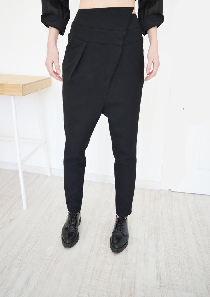 NEW Extravagant Drop Crotch Black PantsLoose Cotton by ATTITUDE157