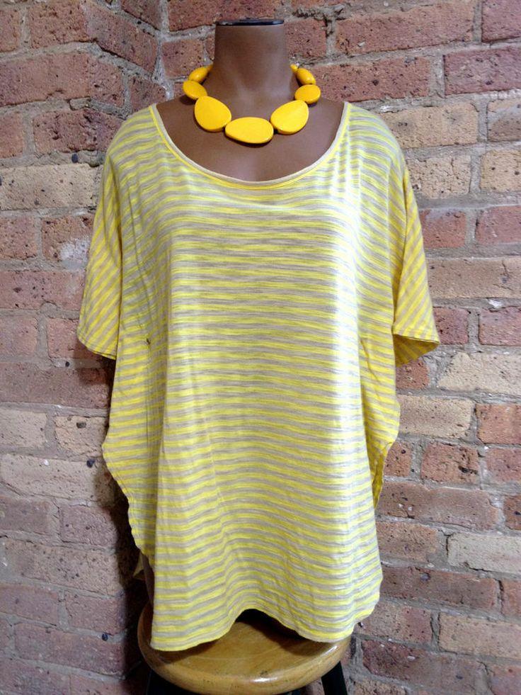 BCBG Max Azria ★ Yellow Batwing Top size X-Small ★ Beige Striped Poncho #BCBGMAXAZRIA #Blouse #Casual
