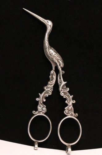 Antique-Sterling-Silver-Midwife-Stork-Umbilical-Cord-Scissors-1853-1859