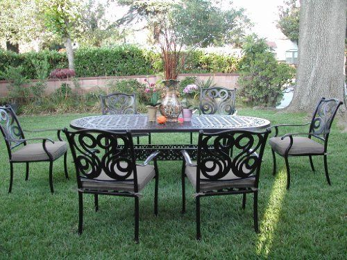 CBM Outdoor Cast Aluminum Patio Furniture 7 Pc Dining Set G CBM1290 By  Dining Set.