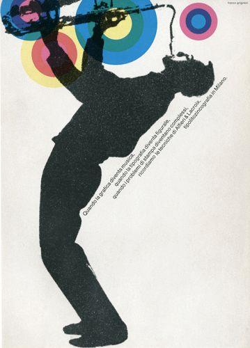 """Pagina pubblicitaria - Alfieri & Lacroix  """"Quando la grafica diventa musica, quando la tipografia diventa figurale, quando i problemi di stampa diventano complessi ricordiamo le tecniche di Alfieri & Lacroix tipolitozincografia in Milano.""""  Progetto grafico e testi di Franco Grignani"""