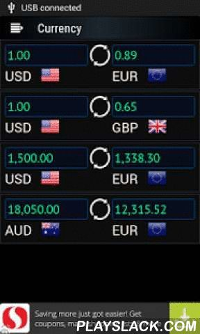 Currency Plus  Android App - playslack.com , Look-up and Convert almost all major world currencies. Calculate the currencies by choosing your desired quantity and refresh for latest quotes. PLUS NEWS at your fingertips. Get latest news from Yahoo, Reuters and FX 360 and more to come. Send news by e-mail to people you want. Also quotes and analyst rankings to keep track of your favorite stocks.