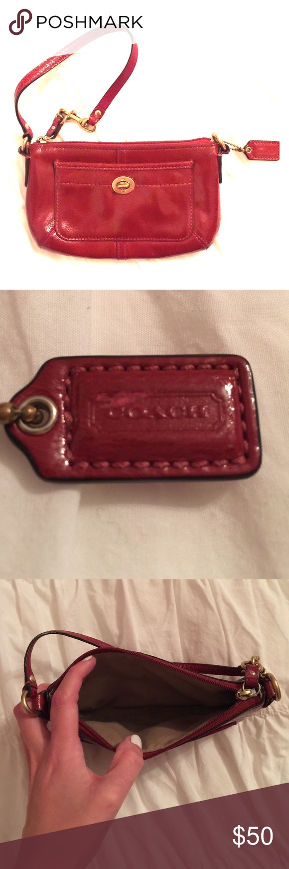 Authentic Coach Clutch in red! Small coach clutch in red. I've used it a few times, but no damage to the inside and a small scuff on the coach label. Coach Bags Clutches & Wristlets