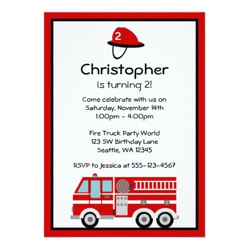 438 best Fire Truck Birthday Party Invitations images on Pinterest