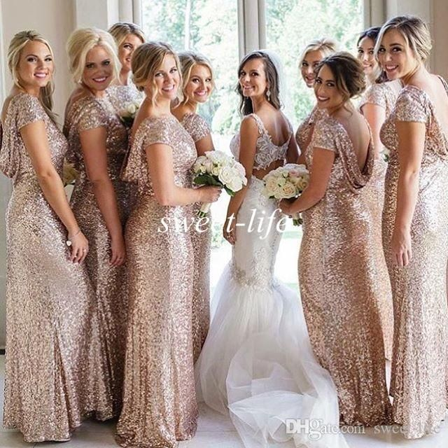 Cheap Plus Size Mermaid Bridesmaid Dresses Sparkly Rose Gold Sequined Cap Sleeves Backless 2016 Sexy Wedding Guest Party Gowns Evening Dress Online with $82.11/Piece on Sweet-life's Store | DHgate.com