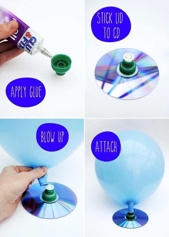 Maak een ballon hovercraft van een oude cd, sportfles dopje en natuurlijk een ballon. (www.opvoedproducten.nl)
