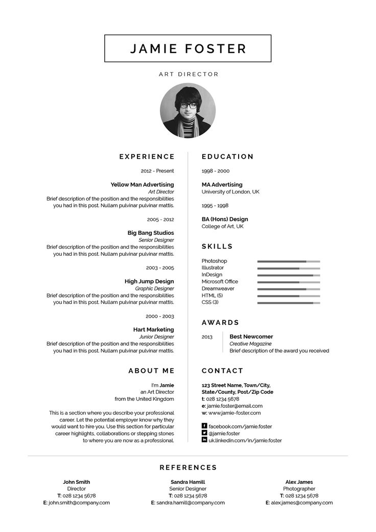 169 best CV Design images on Pinterest Creative industries - single page resume