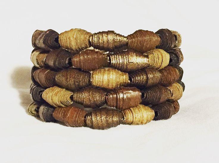 Brown paper bag paper beads