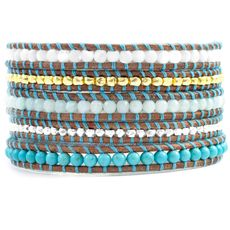 Turquoise Mix Thread Wrap Bracelet on Natural Brown Leather