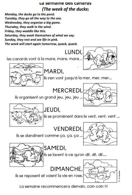 "What a great way to learn ""les jours de la semaine"" (the days of the week). I downloaded the song sheet and flash cards from La maternelle de Moustache, one of the best online ressource…"