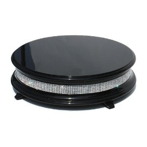 "18"" Piano Black Diamond Wedding Cake Stand"