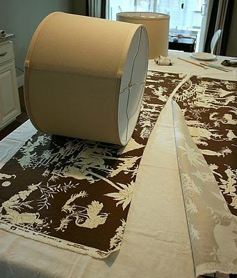 How to recover lampshades, using fabrics. This is one of the best tutorials on this Ive seen. Note to self: hat boxes