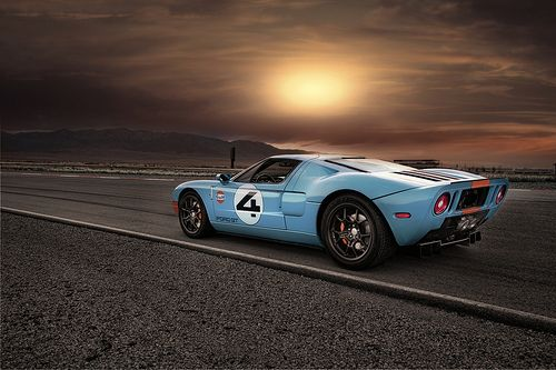 Ford GT driving into the sunset
