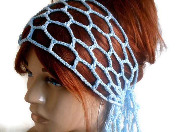 Blue Crochet Bandana, Knitted Head Band, Knitted Hair Band, Hippi Hair Band, Yoga Band, Crochet Head Band, Boho Hair Band, Head Cover by MimosaKnitting on Etsy
