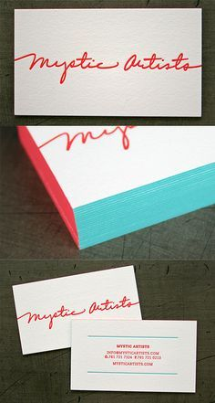 I love the aqua and red edging. Letterpress Business Card | Business Cards | The Design Inspiration