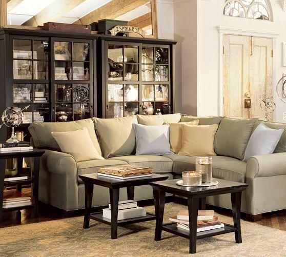 Garrett glass cabinet pottery barn would love 2 of for Stylish pottery barn metropolitan coffee table