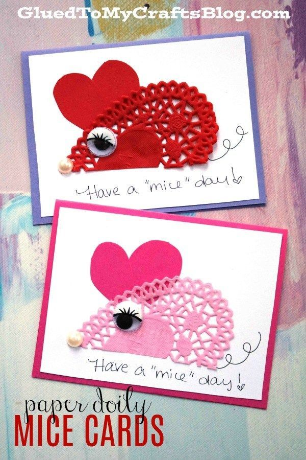 Have A Mice Day Doily Mice Cards Valentines Day Cards Handmade