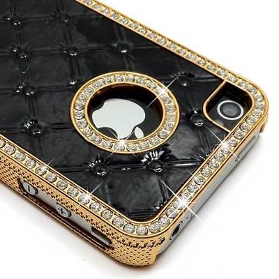 Black Luxury Designer Quilted Diamond Rhinestone Crystal